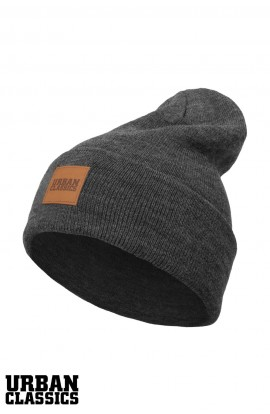 Long Beanie Leatherpatch charcoal