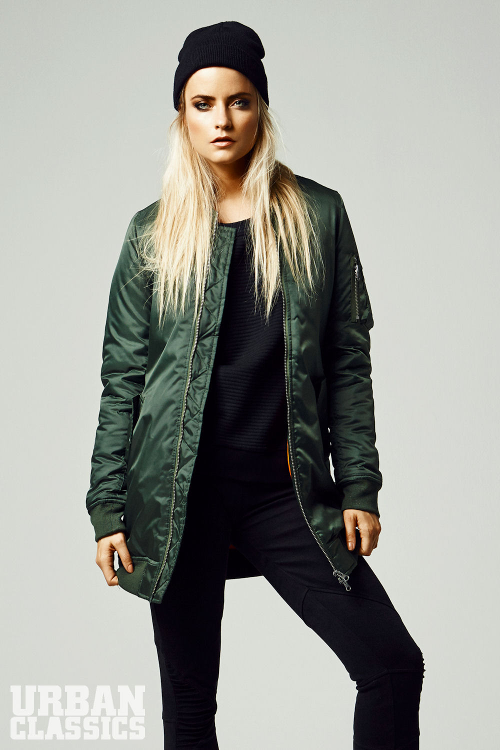 Ladies Long Bomber Jacket